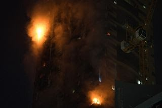 Sharjah Police deployed a drone to check if anyone was trapped inside the burning tower.